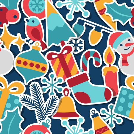 Merry Christmas and Happy New Year seamless pattern. Vector