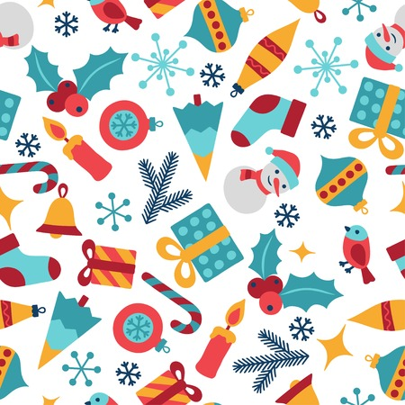 wrapper: Merry Christmas and Happy New Year seamless pattern.