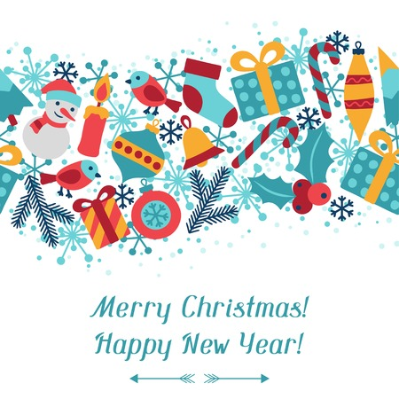 Merry Christmas and Happy New Year invitation card. Vector