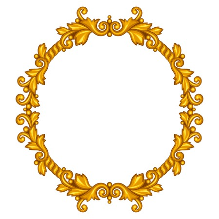 Baroque ornamental antique gold frame on white background. Vector
