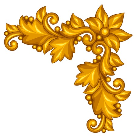 Baroque ornamental antique gold element on white background. Vector