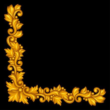 Baroque ornamental antique gold element on black background. Vector