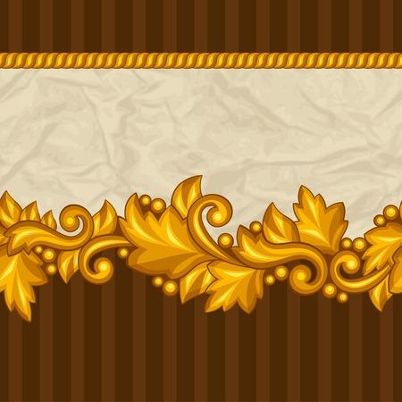 바로크 장식용 꽃 골드 요소와 원활한 패턴입니다.