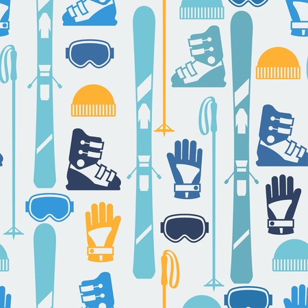 skis: Sports seamless pattern with skiing equipment flat icons.
