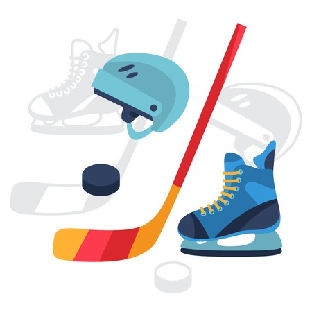 hockey goal: Hockey equipment icons set in flat design style.