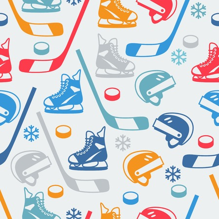 hockey goal: Sports seamless pattern with hockey equipment flat icons.