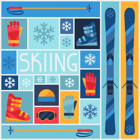 Sports background with skiing equipment flat icons. Vector