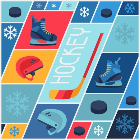 action sports: Sports background with hockey equipment flat icons. Illustration