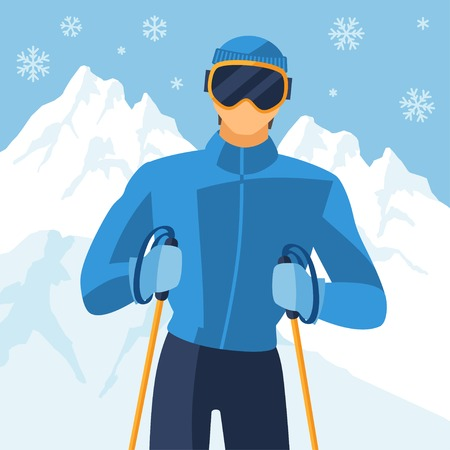Man skier on mountain winter landscape background. Vector