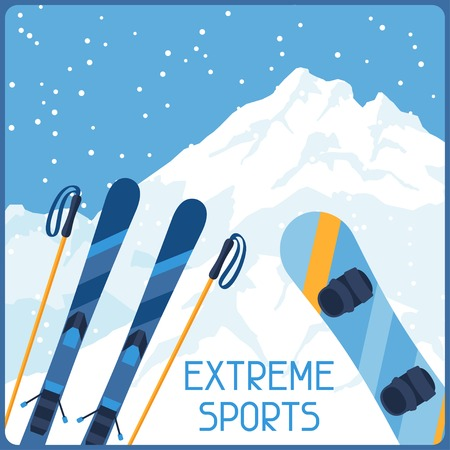 Extreme sports on background of mountain winter landscape.