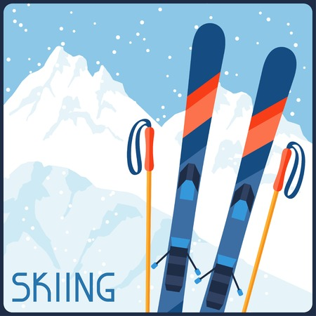 Skiing equipment on background of mountain winter landscape. Vector
