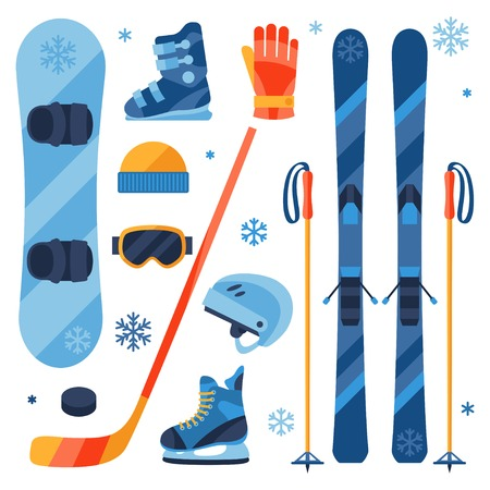 skis: Winter sports equipment icons set in flat design style.