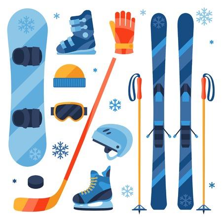 Zimowy zestaw ikon sprzęt sportowy styl projektowania płaskiego.