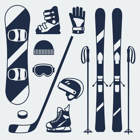 Zimowy zestaw ikon sprzęt sportowy styl projektowania płaskiego. Ilustracje wektorowe