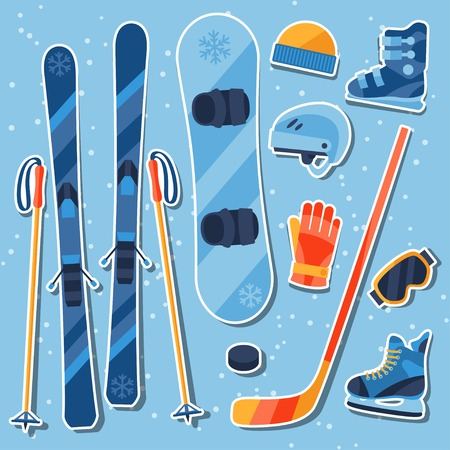 Winter sports equipment sticker icons set in flat design style. Vector