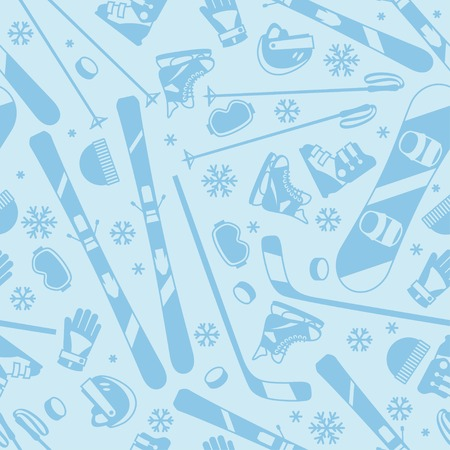 hockey equipment: Winter sports seamless pattern with equipment flat icons.