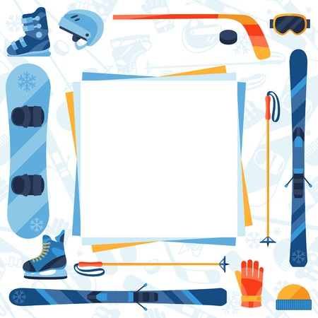 Winter sports background with equipment flat icons. Vector
