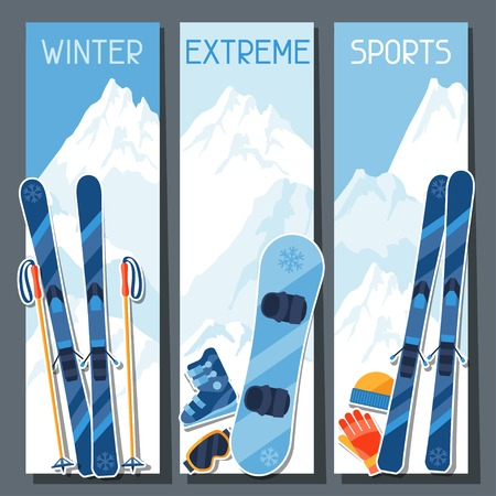peak hat: Winter extreme sports banners with mountain winter landscape.