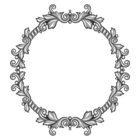 silver frame: Baroque ornamental antique silver frame on white background.