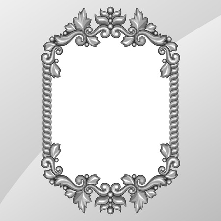 Baroque ornamental antique silver frame on white background. Vector