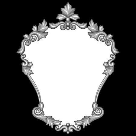 Baroque ornamental antique silver frame on black background. Vector