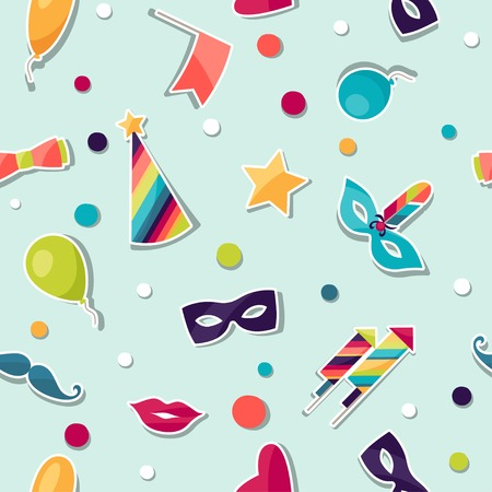 Celebration seamless pattern with carnival stickers and objects. Vector