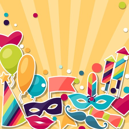 Celebration background with carnival stickers and objects. Vector
