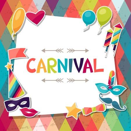 antifaz de carnaval: Celebración de fondo con pegatinas y objetos de carnaval. Vectores