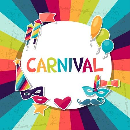 Viering achtergrond met carnaval stickers en objecten. Stockfoto - 32085699