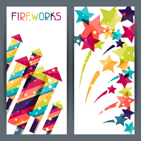 Holiday colorful vertical banners with shiny colored fireworks. Vector