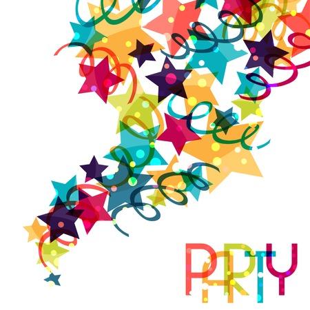 Urlaub Hintergrund mit glänzenden farbigen Feier Dekorationen. Illustration