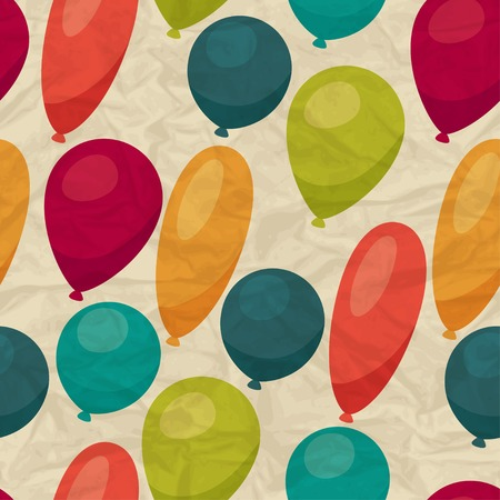 Seamless pattern with balloons on crumpled paper.  Vector