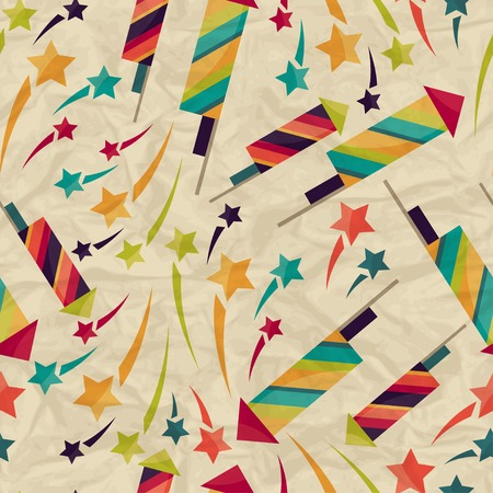 rumple: Seamless pattern with fireworks on crumpled paper.