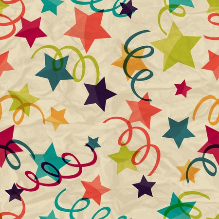 surprise party: Seamless pattern with stars and serpentine on crumpled paper.  Illustration