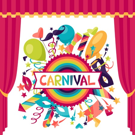 carnival border: Celebration festive background with carnival icons and objects. Illustration