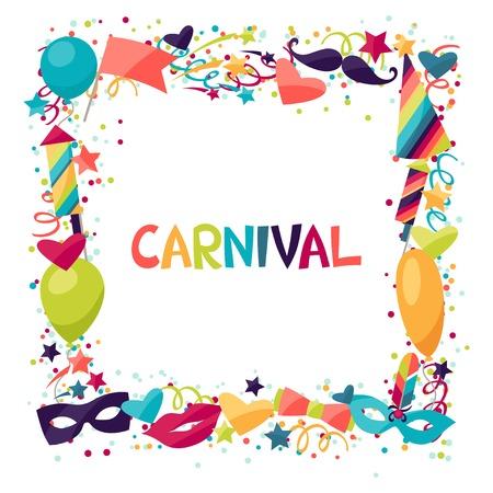 mascaras carnaval: Celebración festiva de fondo con iconos y objetos de carnaval.