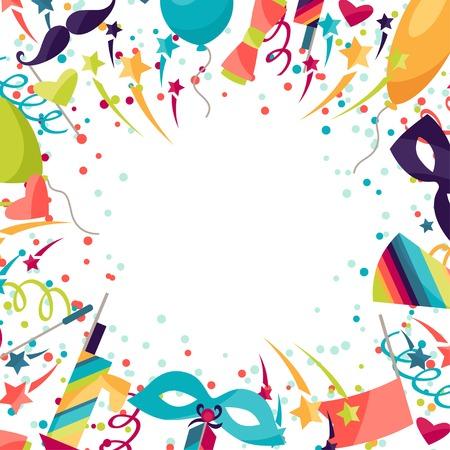felicitaciones cumpleaÑos: Celebración festiva de fondo con iconos y objetos de carnaval.