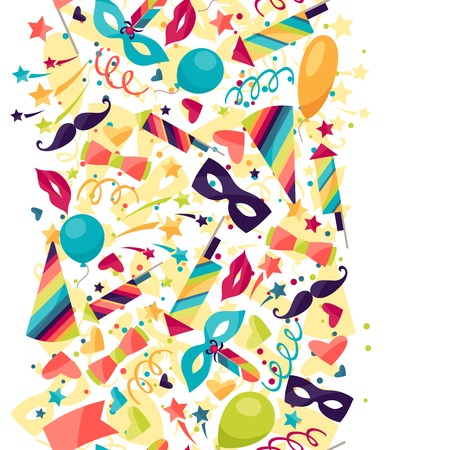 Celebration seamless pattern with carnival icons and objects. Vector