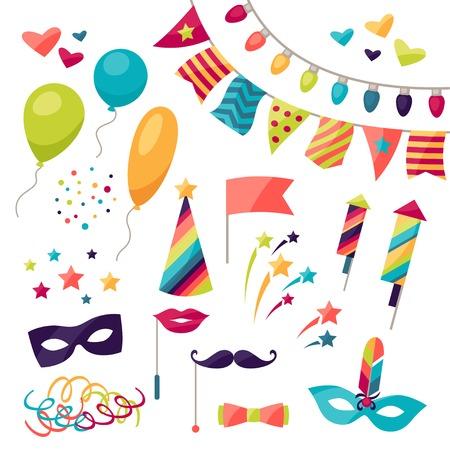 mascara de carnaval: Celebración del carnaval conjunto de iconos y objetos. Vectores