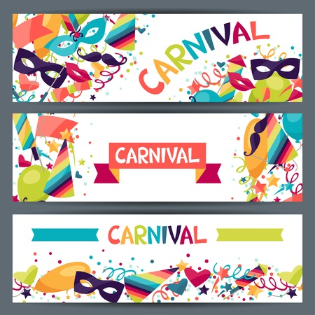masquerade mask: Celebration horizontal banners with carnival icons and objects.