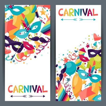 antifaz de carnaval: Celebración banderas verticales con iconos y objetos de carnaval.