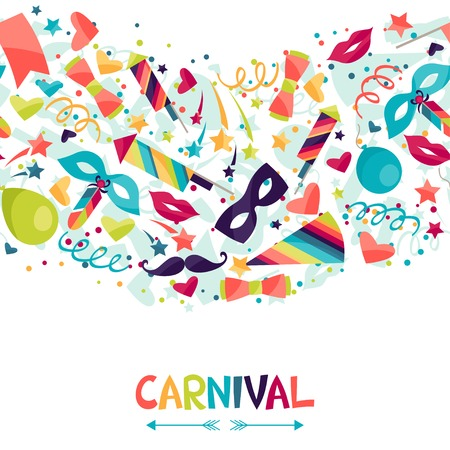 carnival masks: Celebration seamless pattern with carnival icons and objects. Illustration