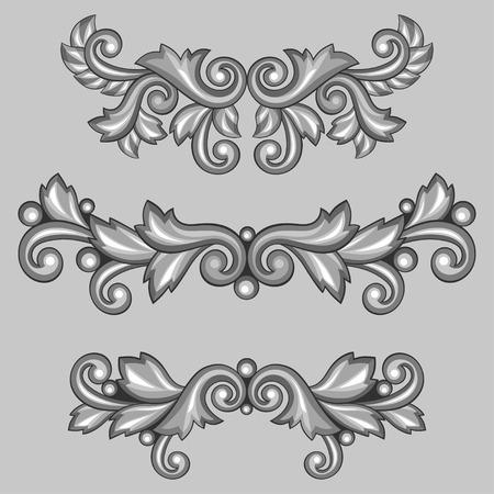 Set of baroque ornamental antique silver scrolls and vignettes. Vector