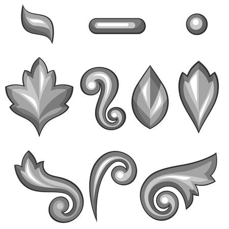 Set of baroque ornamental floral silver elements. Vector