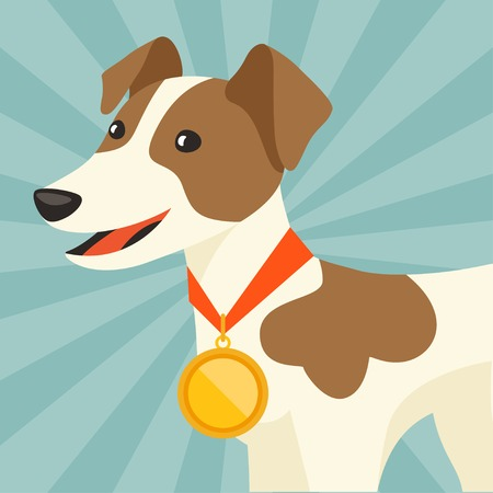 Background with dog champion winning gold medal. Vector