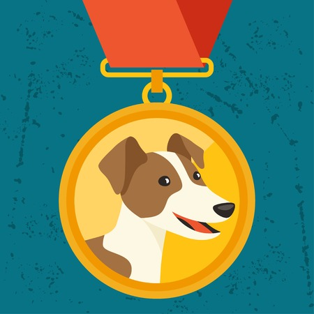 Background with gold medal and dog champion. Vector