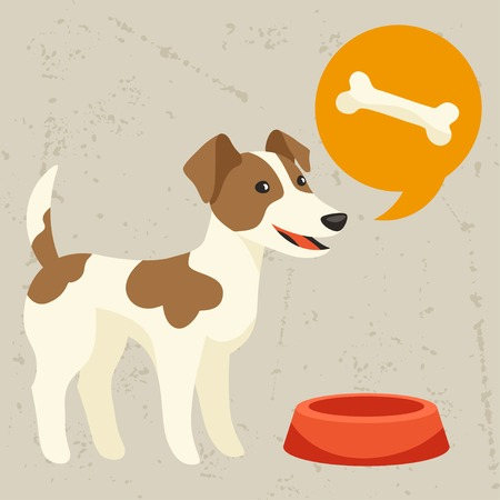 Background with dog says he wants to eat. Vector