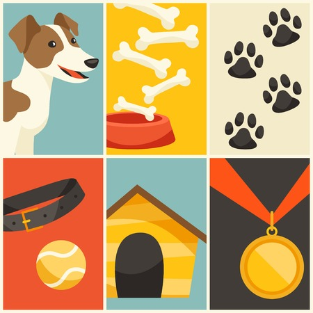 Background with cute dog, icons and objects. Vector