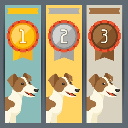 Award vertical banners with dog winning medal. Vector