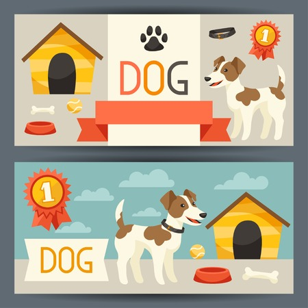 Horizontal banners with cute dog, icons and objects. Vector